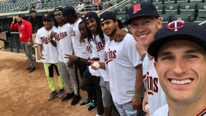 Top Tweets: Vikings players toe the rubber at Target Field