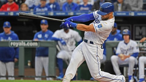 May 10, 2019; Kansas City, MO, USA; Kansas City Royals left fielder Alex Gordon (4) hits a two run home run against the Philadelphia Phillies during the first inning at Kauffman Stadium. Mandatory Credit: Peter G. Aiken/USA TODAY Sports