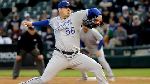 Kansas City Royals starting pitcher Brad Keller delivers during the third inning of a baseball game against the Chicago White Sox, Tuesday, May 28, 2019, in Chicago. (AP Photo/Charles Rex Arbogast)