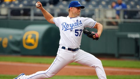 May 1, 2019; Kansas City, MO, USA; Kansas City Royals starting pitcher Glenn Sparkman (57) pitches against the Tampa Bay Rays during the first inning in the second game of a baseball doubleheader at Kauffman Stadium. Mandatory Credit: Jay Biggerstaff-USA TODAY Sports