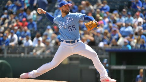 May 12, 2019; Kansas City, MO, USA; Kansas City Royals starting pitcher Jakob Junis (65) delivers a pitch in the first inning against the Philadelphia Phillies at Kauffman Stadium. Mandatory Credit: Denny Medley-USA TODAY Sports