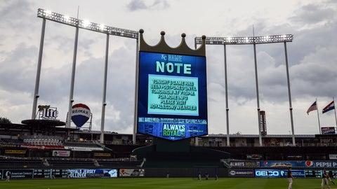 May 24, 2019; Kansas City, MO, USA; A general view of the scoreboard announcing the game between the New York Yankees and the Kansas City Royals will be postponed at Kauffman Stadium. Mandatory Credit: Jay Biggerstaff-USA TODAY Sports