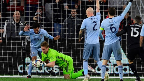 May 12, 2019; Washington, D.C., USA; Sporting Kansas City goalkeeper Tim Melia (29) makes a save in the first half against the D.C. United  at Audi Field. Mandatory Credit: Tommy Gilligan-USA TODAY Sports