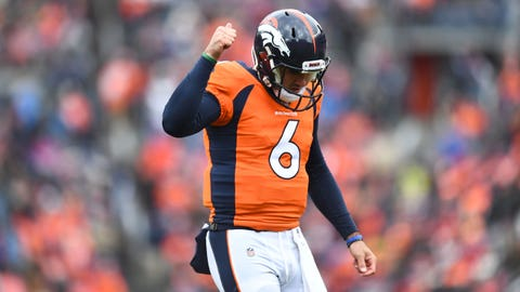 Oct 14, 2018; Denver, CO, USA; Denver Broncos quarterback Chad Kelly (6) reacts to the crowd as he comes in for the final play of the the second quarter against the Los Angeles Rams at Broncos Stadium at Mile High. Mandatory Credit: Ron Chenoy-USA TODAY Sports