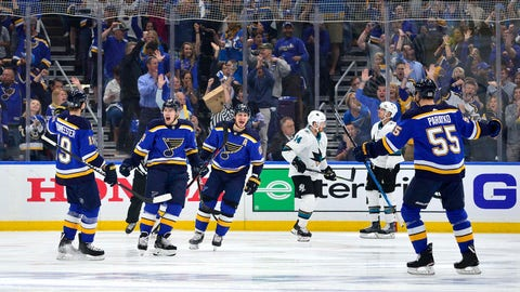 May 17, 2019; St. Louis, MO, USA; St. Louis Blues center Ivan Barbashev (49) is congratulated by teammates after scoring during the first period in game four of the Western Conference Final of the 2019 Stanley Cup Playoffs against the San Jose Sharks at Enterprise Center. Mandatory Credit: Jeff Curry-USA TODAY Sports