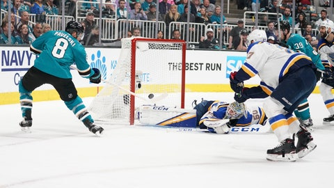 May 11, 2019; San Jose, CA, USA; San Jose Sharks center Joe Pavelski (8) scores a goal against St. Louis Blues goaltender Jordan Binnington (50) during the first period in game one of the Western Conference Final of the 2019 Stanley Cup Playoffs at SAP Center at San Jose. Mandatory Credit: Kyle Terada-USA TODAY Sports