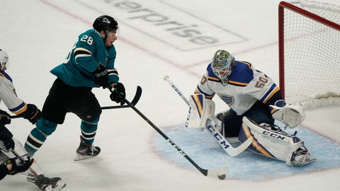 May 11, 2019; San Jose, CA, USA; St. Louis Blues goaltender Jordan Binnington (50) attempts to defend against San Jose Sharks right wing Timo Meier (28) during the second period in game one of the Western Conference Final of the 2019 Stanley Cup Playoffs at SAP Center at San Jose. Mandatory Credit: Stan Szeto-USA TODAY Sports
