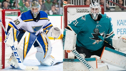 Jordan Binnington, St. Louis Blues, Martin Jones, San Jose Sharks