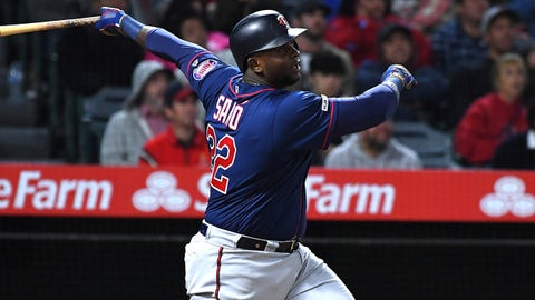 May 20, 2019; Anaheim, CA, USA; Minnesota Twins third baseman Miguel Sano (22)  hits a two-run home run in the eighth inning of the game against the Los Angeles Angels at Angel Stadium of Anaheim. Mandatory Credit: Jayne Kamin-Oncea-USA TODAY Sports
