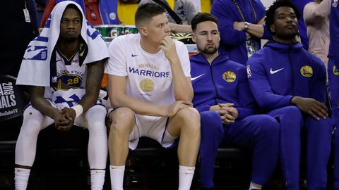 <p>               Golden State Warriors' Alfonzo McKinnie, from left, sits on the bench with Jonas Jerebko, Klay Thompson and Damian Jones during the second half of Game 3 of basketball's NBA Finals against the Toronto Raptors in Oakland, Calif., Wednesday, June 5, 2019. (AP Photo/Ben Margot)             </p>