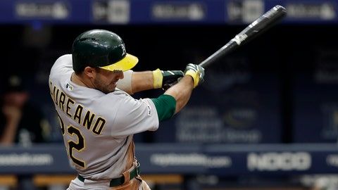 <p>               Oakland Athletics' Ramon Laureano connects for a grand slam off Tampa Bay Rays pitcher Colin Poche during the eighth inning of a baseball game Wednesday, June 12, 2019, in St. Petersburg, Fla. (AP Photo/Chris O'Meara)             </p>