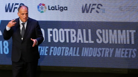 <p>               FILE - In this Monday, Sept. 24, 2018 file photo, Javier Tebas, the president of the Spanish La Liga, speaks during the World Football summit in Madrid, Spain. The Spanish soccer league says the country's data protection agency doesn't understand the technology being used on its official app. The league was fined 250,000 euros ($283,000) for using a microphone in its app, but says it will challenge the decision. (AP Photo/Paul White, File)             </p>