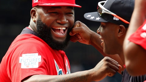 <p>               FILE - In this July 15, 2018, file photo, World Team Manager David Ortiz (34) speaks with U.S. Team Manager Torrii Hunter, before the All-Star Futures baseball game at Nationals Park, in Washington. Ortiz returned to Boston for medical care after being shot in a bar Sunday, June 9, 2019, in his native Dominican Republic. (AP Photo/Alex Brandon, File)             </p>