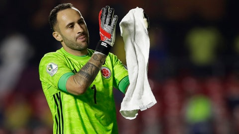 <p>               Colombia's goalkeeper David Ospina celebrates at the end of the Copa America Group B soccer match against Qatar at the Morumbi stadium in Sao Paulo, Brazil, Wednesday, June 19, 2019. (AP Photo/Andre Penner)             </p>