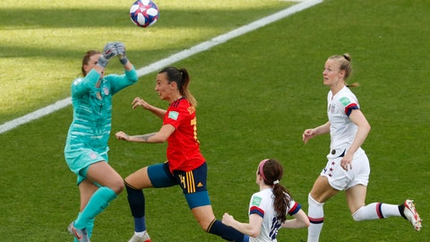 <p>               United States goalkeeper Alyssa Naeher, left, makes a save in front of Spain's Virginia Torrecilla, second left, during the Women's World Cup round of 16 soccer match between Spain and United States at Stade Auguste-Delaune in Reims, France, Monday, June 24, 2019. (AP Photo/Thibault Camus)             </p>