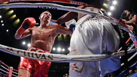 <p>               Kazakhstan's Gennady Golovkin, left, knocks down Canada's Steve Rolls during the fourth round of a super middleweight boxing match Saturday, June 8, 2019, in New York. Golovkin stopped Rolls in the fourth round. (AP Photo/Frank Franklin II)             </p>