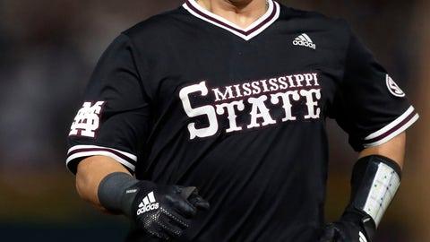 <p>               Mississippi State's Dustin Skelton celebrates his triple as he runs towards third base during the third inning against Stanford in Game 2 at the NCAA college baseball super regional tournament in Starkville, Miss., Sunday, June 9, 2019. (AP Photo/Rogelio V. Solis)             </p>