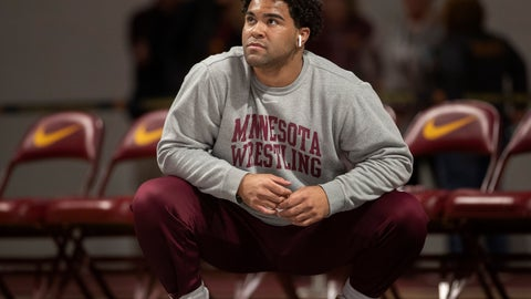 <p>               Gable Steveson warms up before wrestling in an NCAA Big Ten tournament in Minneapolis, Minn, Sunday, Jan. 6, 2019.  Nationally-ranked University of Minnesota heavyweight wrestler Gable Steveson and a teammate have been arrested on suspicion of criminal sexual conduct.  KSTP-TV reports that jail records show Steveson and Dylan Martinez were arrested Saturday night, June 15, 2019, at different times and places in Minneapolis. (Jerry Holt/Star Tribune via AP)             </p>