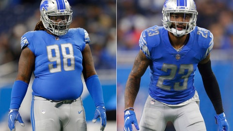 "<p>               FILE - At left, in an Oct. 28, 2018, file photo, Detroit Lions defensive tackle Damon Harrison plays during an NFL football game against the Seattle Seahawks, in Detroit. At right, also in an Oct. 28, 2018, file photo, Detroit Lions cornerback Darius Slay plays against the Seattle Seahawks during an NFL football game in Detroit. The Detroit Lions started their mandatory minicamp without two standouts on defense. Two-time Pro Bowl cornerback Darius Slay and defensive tackle Damon ""Snacks"" Harrison were not with their teammates Tuesday, June 4, 2019. Lions coach Matt Patricia says he's only focusing on players on the field.(AP Photo/Paul Sancya, File)             </p>"