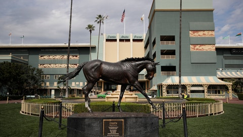 <p>               FILE - In this March 5, 2019, file photo, a statue of Zenyatta stands in the paddock gardens area at Santa Anita Park in Arcadia, Calif. A second horse in two days and 29th overall died at Santa Anita, Sunday, June 9, 2019, where management has chosen to continue racing for the rest of the current meet. (AP Photo/Jae C. Hong, File)             </p>