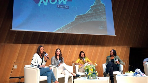 <p>               Panelist, from left, Catt Sadler, formerly of E!, hockey player Hilary Knight, retired soccer player and ESPN commentator Julie Foudy and tennis star Venus Williams discuss gender pay inequity Saturday, June 15, 2019, at a forum hosted by lUNA Bar at the Salon Gustave in the Eiffel Tower, Paris, France. (AP Photo/Ronald Blum)             </p>
