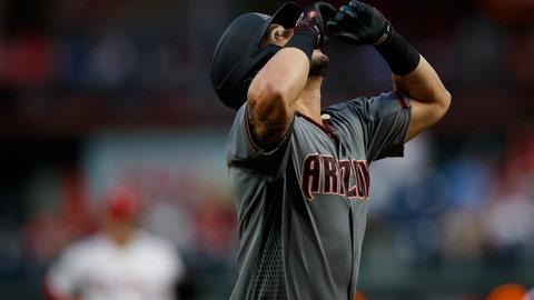 <p>               Arizona Diamondbacks' David Peralta reacts after hitting a home run off Philadelphia Phillies starting pitcher Jerad Eickhoff during the first inning of a baseball game, Monday, June 10, 2019, in Philadelphia. (AP Photo/Matt Slocum)             </p>