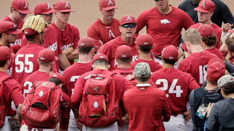 <p>               Arkansas NCAA college baseball coach Dave Van Horn, center, addresses his players following practice at TD Ameritrade Park in Omaha, Neb., Friday, June 14, 2019. Arkansas opens College World Series play Saturday night against Florida State, which will be trying to win retiring coach and NCAA all-time wins leader Mike Martin's first national championship in his 17 visits to Omaha. (AP Photo/Nati Harnik)             </p>