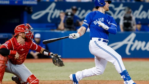 <p>               Toronto Blue Jays' Billy McKinney watches his game-winning home run, next to Los Angeles Angels catcher Jonathan Lucroy during the 10th inning of a baseball game Thursday, June 20, 2019, in Toronto. (Mark Blinch/The Canadian Press via AP)             </p>