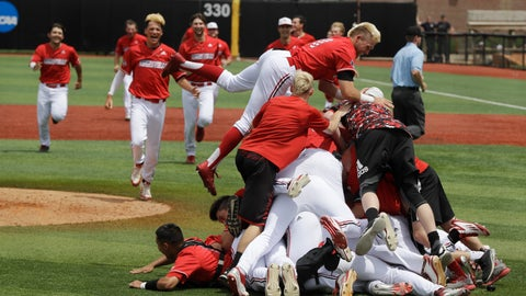 <p>               Louisville players celebrate after defeating East Carolina 12-0 in Game 2 of an NCAA college baseball super regional tournament, Saturday, June 8, 2019, in Louisville, Ky. (AP Photo/Darron Cummings)             </p>