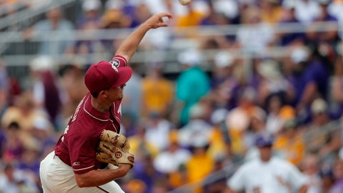 <p>               Florida State pitcher Drew Parrish throws in the first inning against LSU in Game 1 of the NCAA college baseball super regional tournament in Baton Rouge, La., Saturday, June 8, 2019. (AP Photo/Gerald Herbert)             </p>