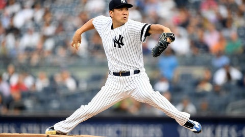 <p>               New York Yankees starting pitcher Masahiro Tanaka delivers during the first inning of a baseball game against the Tampa Bay Rays, Monday, June 17, 2019, in New York. (AP Photo/Sarah Stier)             </p>