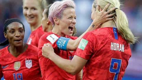 <p>               United States' scorer Lindsey Horan, right, celebrates their side's 3rd goal with Megan Rapinoe during the Women's World Cup Group F soccer match between United States and Thailand at the Stade Auguste-Delaune in Reims, France, Tuesday, June 11, 2019. (AP Photo/Alessandra Tarantino)             </p>