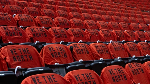 <p>               Tee shirts are shown on seats at Scotiabank Arena before Game 5 of the NBA Finals between the Golden State Warriors and Toronto Raptors in Toronto, Monday, June 10, 2019. (Chris Young/The Canadian Press via AP)             </p>
