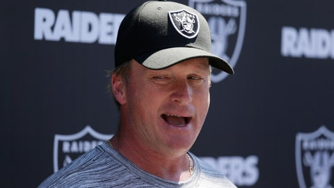 <p>               Oakland Raiders head coach Jon Gruden talks with reporters during NFL football minicamp Tuesday, June 11, 2019, in Alameda, Calif. (AP Photo/Eric Risberg)             </p>
