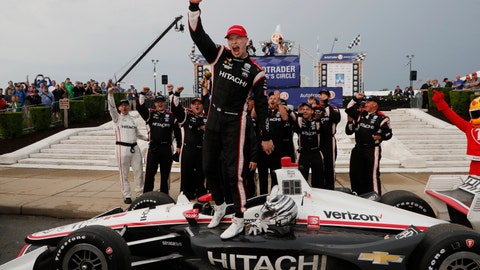 <p>               Josef Newgarden celebrates after winning the first race of the IndyCar Detroit Grand Prix auto racing doubleheader, Saturday, June 1, 2019, in Detroit. (AP Photo/Carlos Osorio)             </p>