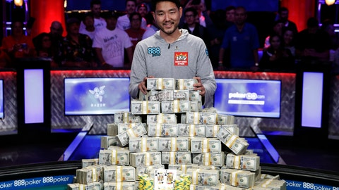 <p>               FILE - In this July 15, 2018, file photo, John Cynn poses after winning the World Series of Poker main event in Las Vegas. Tens of thousands of professional and amateur poker players go on a pilgrimage to Las Vegas every summer in hopes of returning home richer, owning a gold bracelet and earning considerable bragging rights. They all want to win at the World Series of Poker. The tournament is marking its 50th year. The $10,000 buy-in, no-limit Texas Hold 'em main event kicks off Wednesday, July 3. (AP Photo/John Locher, File)             </p>