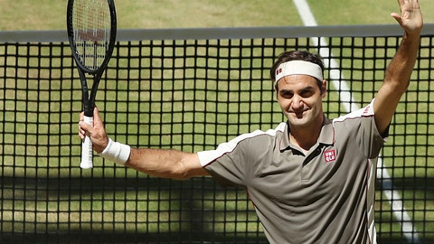 <p>               Swiss Roger Federer celebrates after winning the tennis ATP final against Belgium David Goffin in Halle, Germany, Sunday, June 23, 2019.  (Friso Gentsch/dpa via AP)             </p>