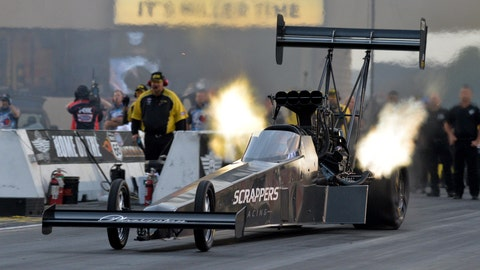 <p>               In this photo provided by the NHRA, Mike Salinas competes in Top Fuel qualifying for the Route 66 NHRA Nationals drag races at Route 66 Raceway on Saturday, June 1, 2019, in Joliet, Ill. (Jerry Foss/NHRA via AP)             </p>