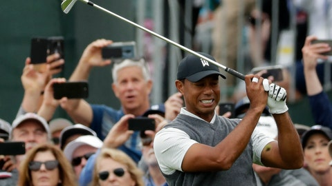 <p>               Tiger Woods reacts after his tee shot on the fifth hole during the first round of the U.S. Open Championship golf tournament Thursday, June 13, 2019, in Pebble Beach, Calif. (AP Photo/Matt York)             </p>