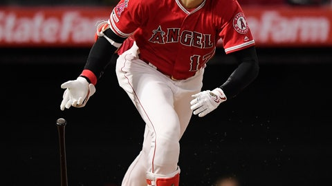 <p>               Los Angeles Angels' Shohei Ohtani, of Japan, heads to first with a single during the fourth inning of the team's baseball game against the Oakland Athletics on Thursday, June 6, 2019, in Anaheim, Calif. (AP Photo/Mark J. Terrill)             </p>
