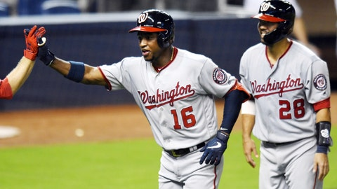 <p>               Washington Nationals' Victor Robles (16) celebrates his two-run home run against the Miami Marlins with Kurt Suzuki, right, during the sixth inning of a baseball game Thursday, June 27, 2019, in Miami. (AP Photo/Jim Rassol)             </p>