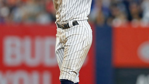<p>               New York Yankees' Cameron Maybin reacts after hitting a two-run double during the fifth inning of the team's baseball game against the Houston Astros on Thursday, June 20, 2019, in New York. (AP Photo/Adam Hunger)             </p>