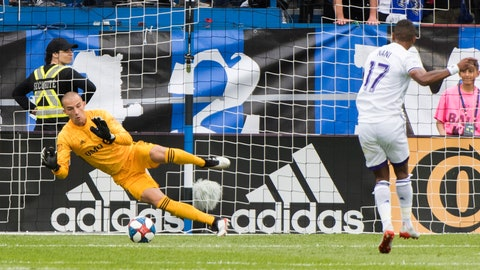 <p>               Orlando City's Nani scores on a penalty kick against Montreal Impact goalkeeper Evan Bush during the first half of an MLS soccer match in Montreal, Saturday, June 1, 2019. (Graham Hughes/The Canadian Press via AP)             </p>