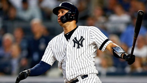 <p>               New York Yankees' Gary Sanchez watches his solo home run during the fourth inning of the team's baseball game against the Houston Astros on Thursday, June 20, 2019, in New York. (AP Photo/Adam Hunger)             </p>
