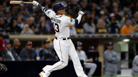 <p>               San Diego Padres' Manny Machado watches his home run during the third inning of a baseball game against the Milwaukee Brewers, Monday, June 17, 2019, in San Diego. (AP Photo/Gregory Bull)             </p>