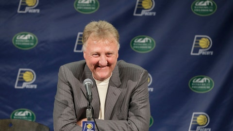 <p>               FILE - In this July 8, 2016, file photo, Indiana Pacers NBA basketball team president Larry Bird smiles during a news conference in Indianapolis. Larry Bird is the only person in league history to be voted MVP, Coach of the Year and Executive of the Year. (AP Photo/Darron Cummings, File)             </p>