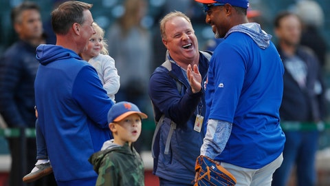 <p>               New York Mets interim bullpen coach Ricky Bones, right, jokes with fans during batting practice for the team's baseball game against the Chicago Cubs on Thursday, June 20, 2019, in Chicago. (AP Photo/Jim Young)             </p>