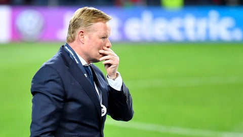 <p>               Netherlands coach Ronald Koeman walks in dejection after receiving his second place medal after the UEFA Nations League final soccer match between Portugal and Netherlands at the Dragao stadium in Porto, Portugal, Sunday, June 9, 2019. Portugal won 1-0. (AP Photo/Martin Meissner)             </p>