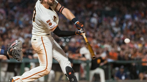 <p>               San Francisco Giants' Evan Longoria hits a two-run double against the San Diego Padres in the seventh inning of a baseball game Tuesday, June 11, 2019, in San Francisco. (AP Photo/John Hefti)             </p>