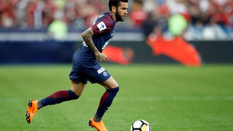 <p>               FILE - In this file photo dated  Tuesday, May 8, 2018, PSG's Dani Alves runs with the ball during the French Cup soccer final against Les Herbiers at the Stade de France stadium in Saint-Denis, outside Paris.  Veteran Brazil defender Dani Alves is leaving Paris Saint-Germain after two seasons with the club, according to an announcement Sunday June 23, 2019.(AP Photo/Francois Mori, FILE)             </p>